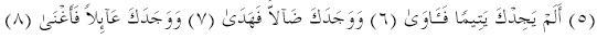 Surat Al-Doha Ayah 6 to 8
