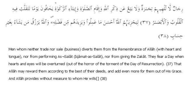 Surat Al Nour 24: Ayah 37 to 38